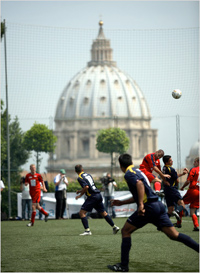 Priests Playing with Soccer Balls, Not Little Boys