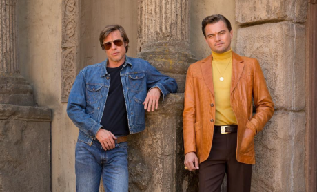 Leo DiCaprio and Brad Pitt Serve '60s Looks in First BTS Image from Tarantino Manson Film